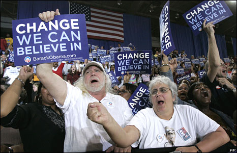 Obama supporters in Raleigh, North Carolina, on 6 May 2008