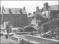A Hull street after an air raid strike