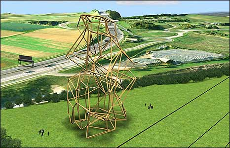 Proposal by Richard Deacon (Picture: Ebbsfleet Landmark Project Ltd, graphics by Plowman Craven, 2008)
