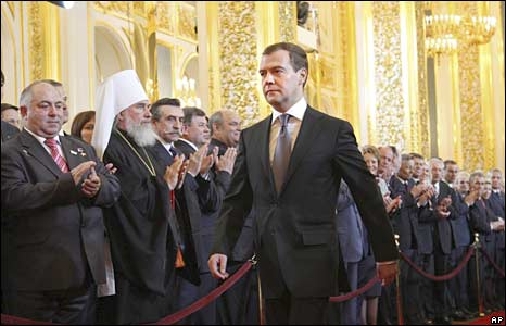 Dmitry Medvedev walks during his inauguration ceremony