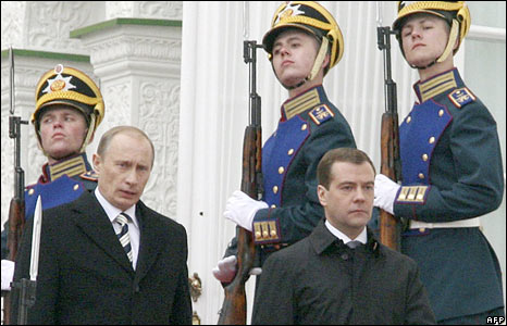 Vladimir Putin (left) and Dmitry Medvedev