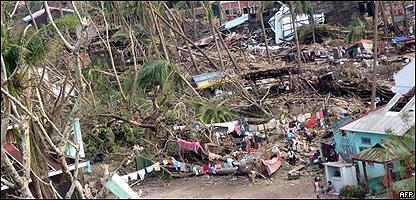 Destrucción causada por el ciclón Nargis,  AFP