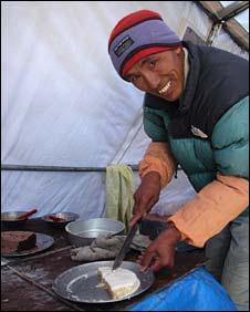 Shera Sherpa, one of the bakers