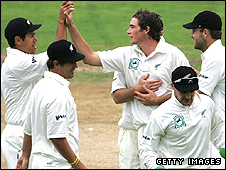Tim Southee and the New Zealand team celebrate his wicket against England at Napier in March