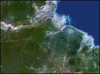 Imágen satélite de parte del Amazonas.