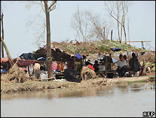 Typhoon survivors in make-shift shelter in Irrawaddy Delta - undated photo