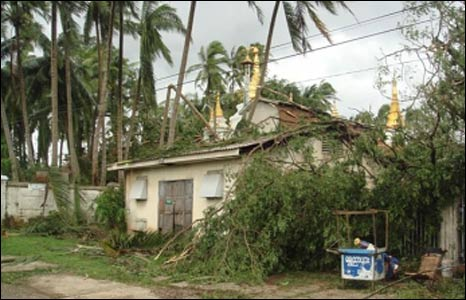 Damage to a house in Rangoon