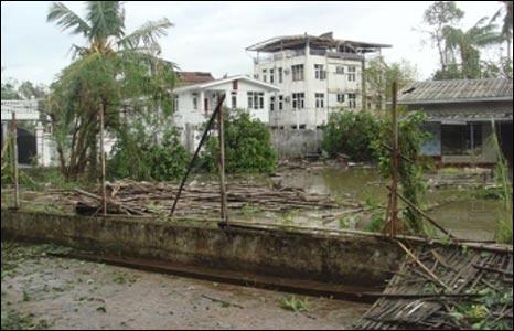 Destruction in Rangoon
