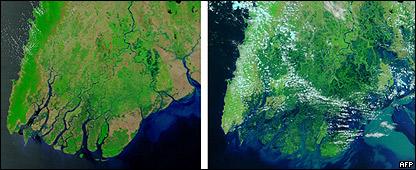 Mapa satelital, antes y despu�s del Nargis