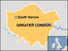 Map showing location of South Harrow