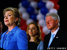 Bill and Chelsea Clinton look on as Hillary Clinton makes a victory speech in Indiana, 6 May 2007