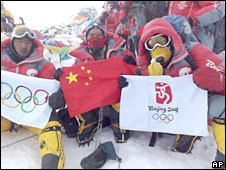 Olympic climbers at top of Mount Everest
