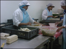 Workers at Farsan making samosas