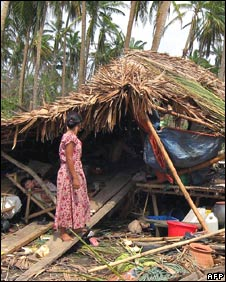 The wreckage of a home in southern Burma