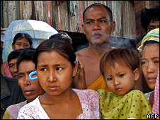 Villagers waiting for aid in southern Burma