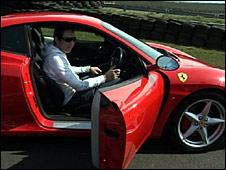 Ben Shaw in the Ferrari