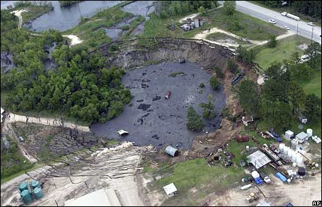 Massive sinkhole near Daisetta, Texas, 7 May, 2008