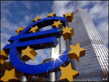 The euro sign is seen in front of the European Central Bank in Frankfurt