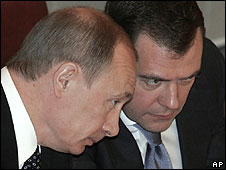 Former President Vladimir Putin (left), with his successor Dmitry Medvedev in the State Duma, 8 May 08