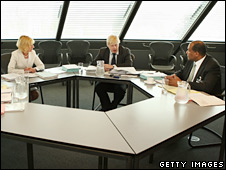 Audit panel chair Patience Wheatcroft, Boris Johnson and Conservative Business Relations chair Patrick Frederick
