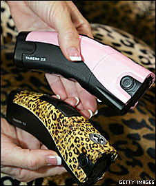 Tasers in leopard print and pink