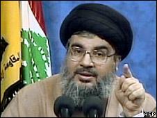 Hassan Nasrallah at the news conference (8 May 2008)
