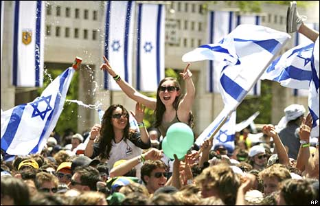 Thousands of Jewish youths celebrate Israel's 60th anniversary in Jerusalem, Thursday, May 8, 2008.