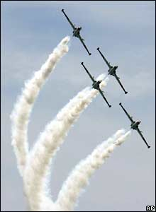 Israeli air force jets perform a display during a show to mark the 60th anniversary of Israel