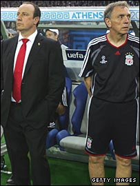 Rafael Benitez and Alex Miller in the Liverpool dugout
