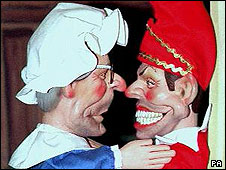 John Major and Tony Blair puppets