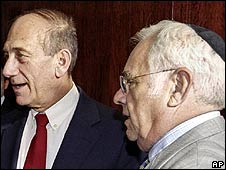 Ehud Olmert (left) with US businessman Moshe Talansky in New York (image from 2003)