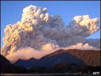 Vista de la erupción del Chaiten.
