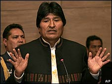 Bolivian President Evo Morales in La Paz on 5 May