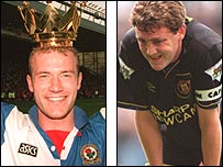 Blackburn's Alan Shearer (left) and Manchester United's Steve Bruce