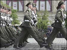 Russian soldiers march during a Victory Day Parade on Red Square in Moscow on May 9, 2008
