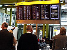 Travellers at Heathrow airport (file pic)