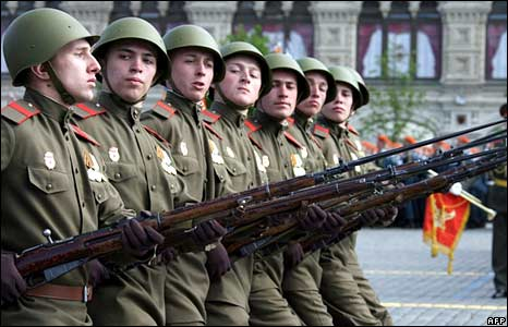 Russian soldiers wearing WWII-era replica uniforms march across Red Square during a Victory Day Parade in Moscow on May 9, 2008.