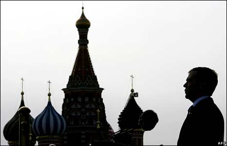 Russian President Dmitry Medvedev gives a speech during a Victory Day Parade on Red Square in Moscow on May 9, 2008