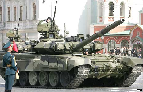 Russian soldiers ride across Red Square in an T-90 tank during a Victory Day Parade in Moscow on May 9, 2008