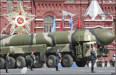 A Russian Topol-M ICBM drives across Red Square during a Victory Day Parade in Moscow on May 9, 2008.