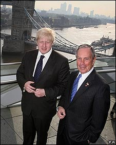 Boris Johnson and Michael Bloomberg at City Hall