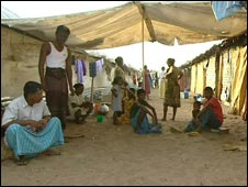 Refugees displaced by the conflict in a camp in east Sri Lanka