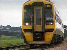 Train on tracks. VT Freeze frame.
