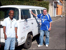 Daniel O'Brien with the missionary man and van