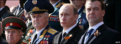 Russian Prime Minister Vladimir Putin and President Dmitry Medvedev attend a Victory Day Parade in Red Square, Moscow