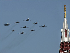 Russian warplanes in fly-past, 9 May 08