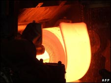 Steel being processed at a Tata plant in India