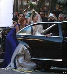 Filming a wedding scene for the movie