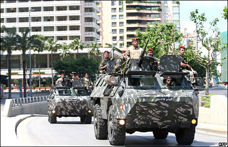 Lebanese army in Beirut on 9 May 2008