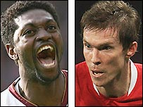 Arsenal striker Emmanuel Adebayor (left) and winger Alexander Hleb
